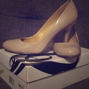 Round toe taupe heels
